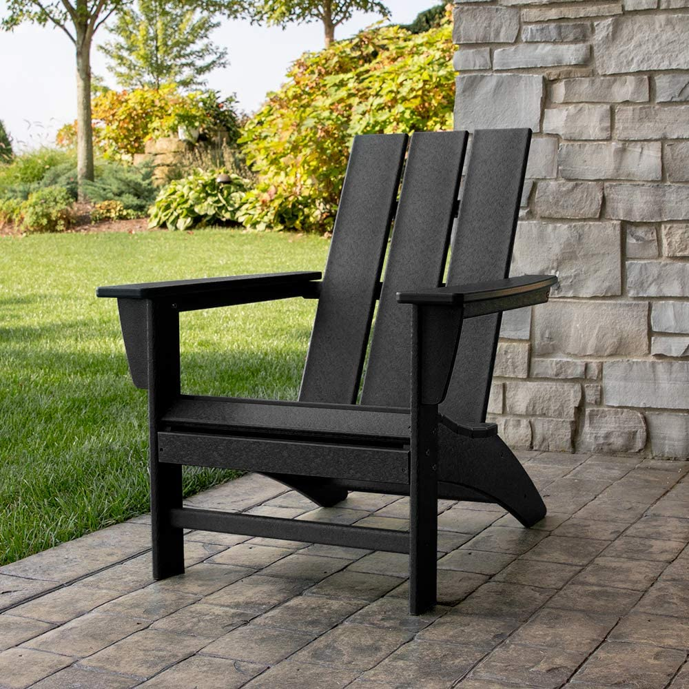 Modern Adirondack Chair | Black Resin for Long Lasting Use | Indoor/Outdoor Use