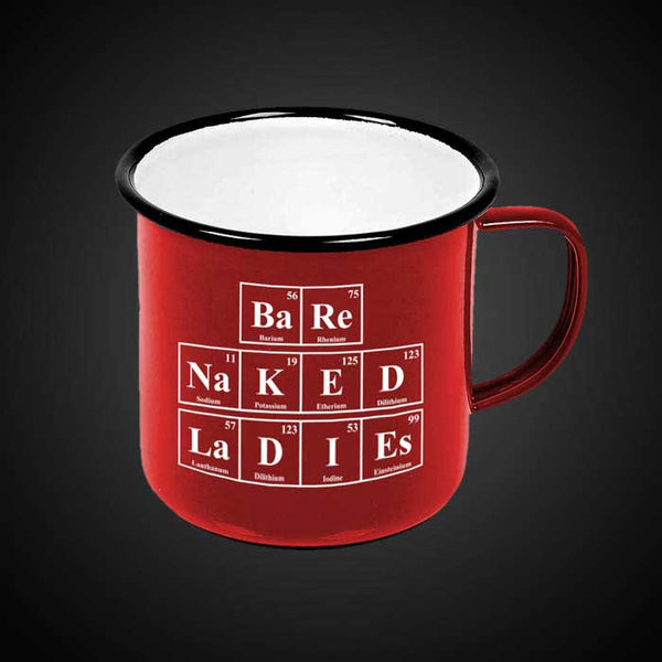 RED PERIODIC ENAMEL MUG