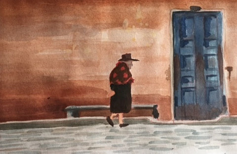 Original Water colour of Colombian Street - signed by the Artist Neil Morrison