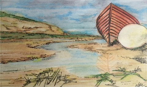 Original Watercolour-pencil Moored boat- signed by the Artist Neil Morrison