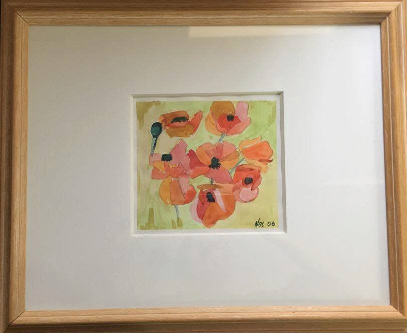 Watercolour of Poppies signed by the Artist Neil Morrison