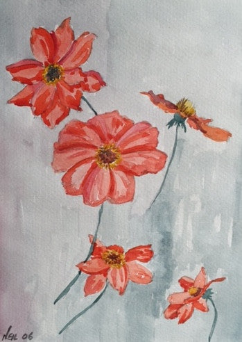 Original Water colour study of Poppies - signed by the Artist Neil Morrison