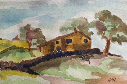 Original Water colour of Rush Isles - Ponden - signed by the Artist Neil Morrison