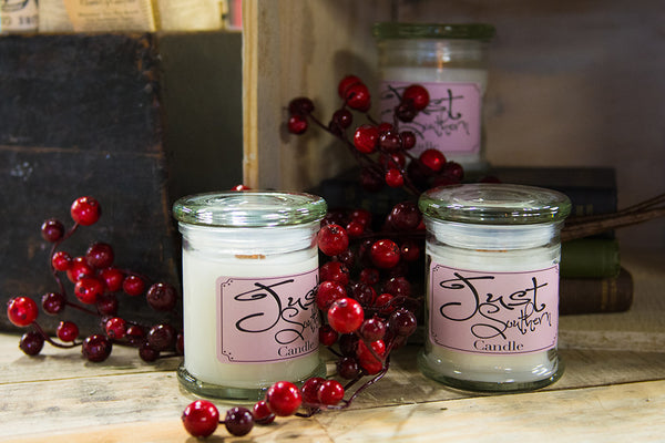 Hand crafted candle with a Southern Berry scent