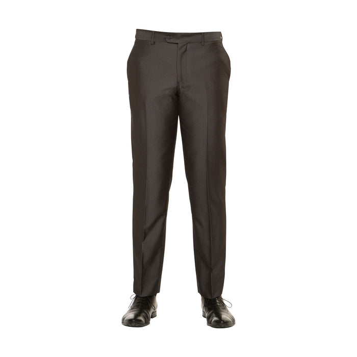 Brown Diamond Flat Front Slim Fit Dress Pants
