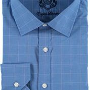Blue Boxed Lines Cotton Dress Shirt