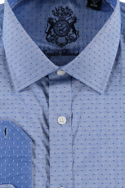 Blue Pin Dot Cotton Dress Shirt