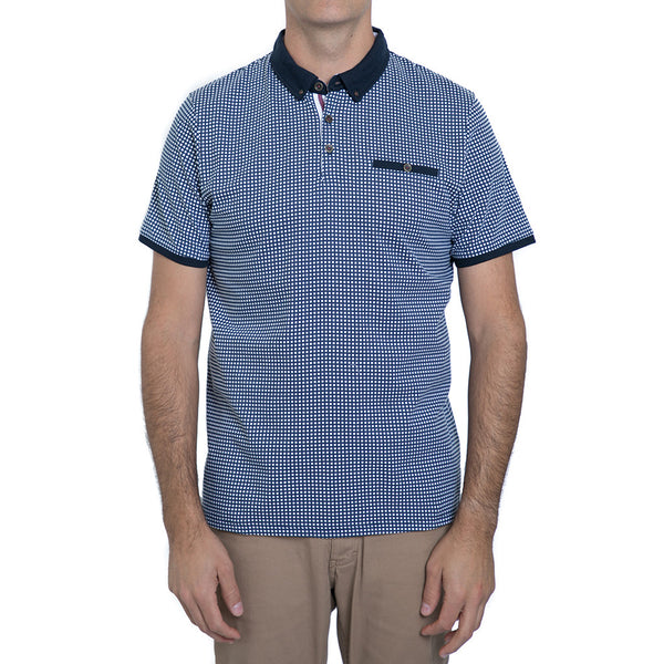 English Laundry Navy Gingham Polo