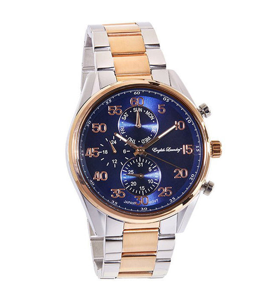 Round Navy Face with Silver/Rose Gold Chainlink Strap Watch