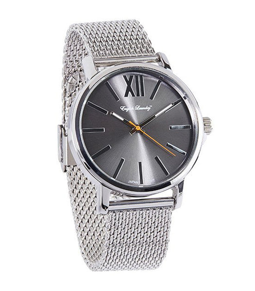 Round Gunmetal Face with Silver Mesh Strap Watch