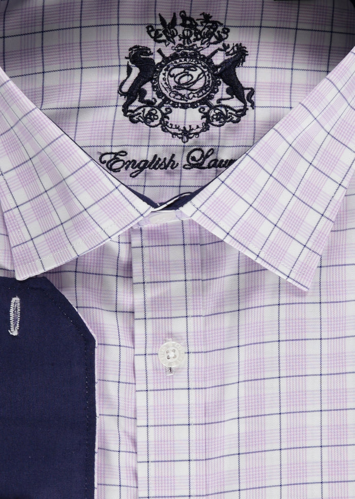 English White and Purple Plaid Laundry Dress Shirt