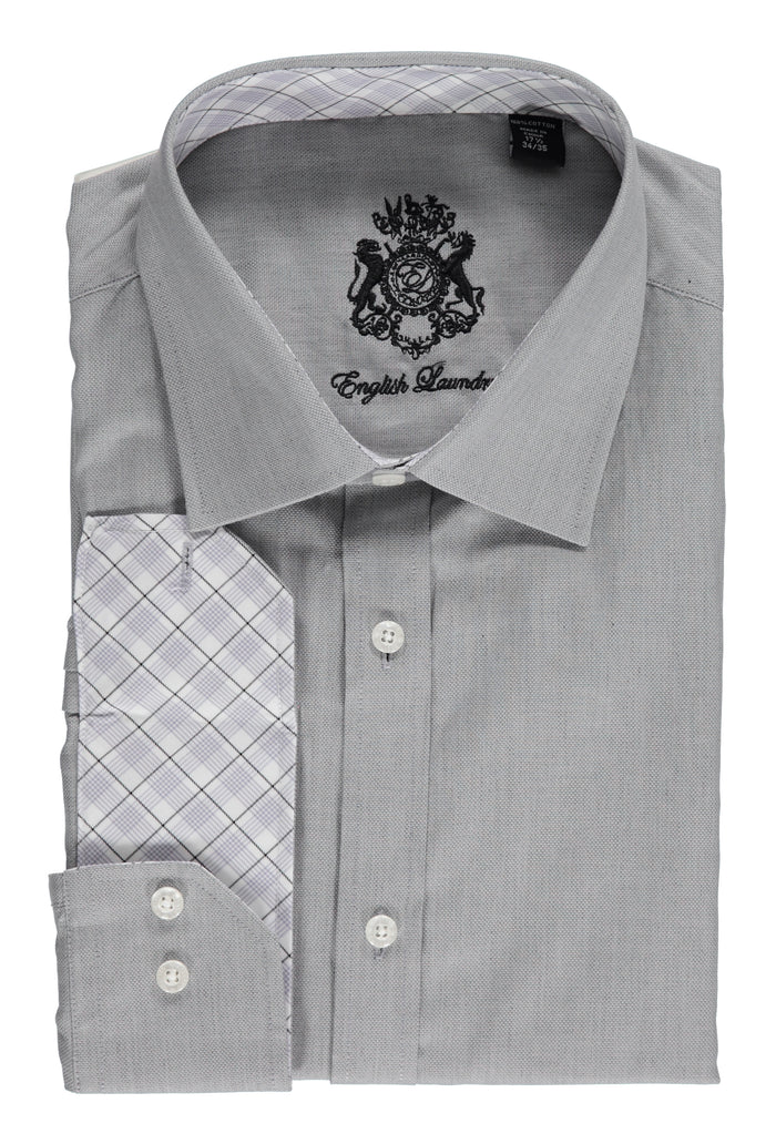 English Laundry Gray Oxford Dress Shirt