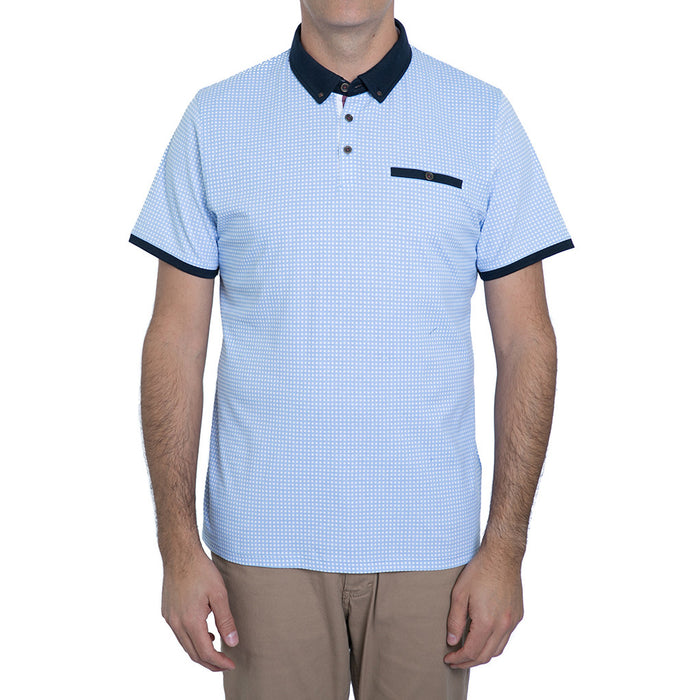 English Laundry Blue Gingham Polo