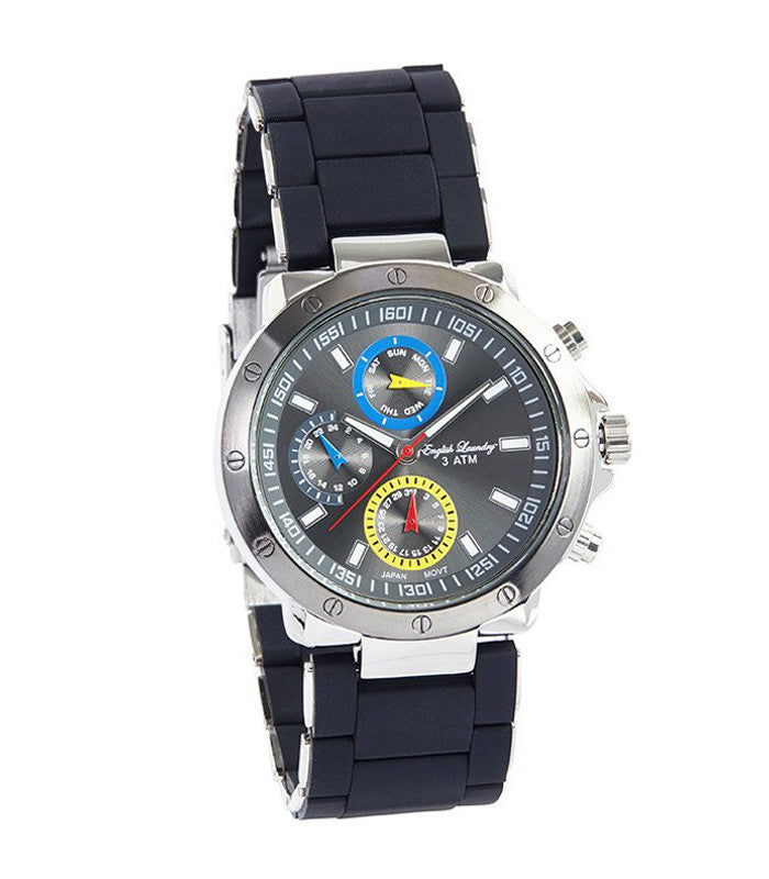 Round Silver Face with Black Rubber Strap Watch