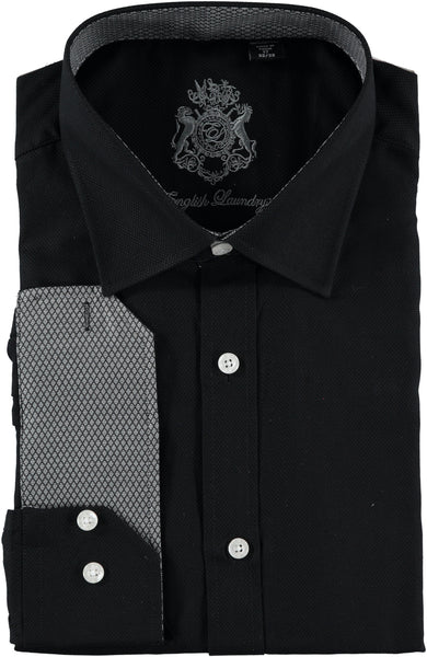 English Laundry Black Textured Dress Shirt