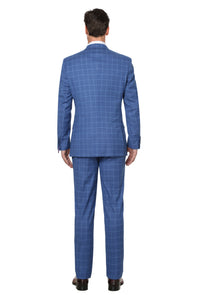 French Blue Plaid Men's Slim Fit Single Breasted Plaid Suit