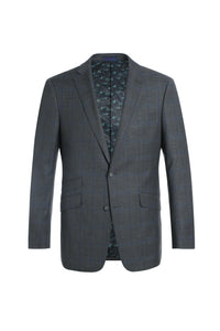 Grey Plaid Men's Stretch Slim Fit 3-Piece Windowpane Suit