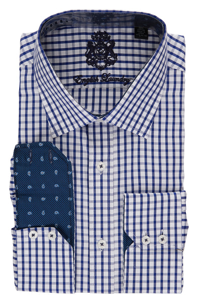 English Laundry Navy Checked Men's Dress Shirt