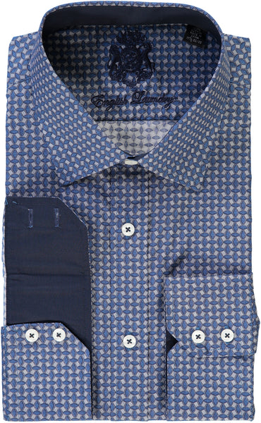 English Laundry Navy Blue Print Dress Shirt