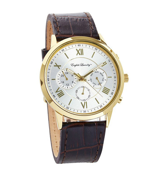 Round White Face with Brown Leather Strap Watch