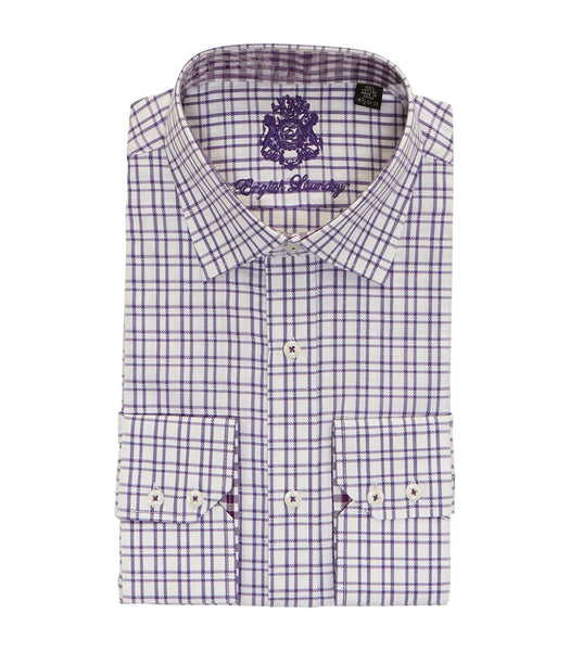 PURPLE PLAID BUTTON DOWN DRESS SHIRT