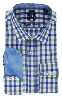 English Laundry Blue and Green Plaid Men's Dress Shirt