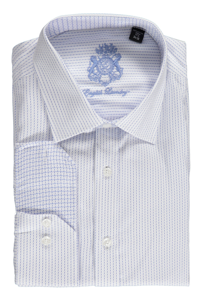English Laundry White with Light Blue Stripes Dress Shirt