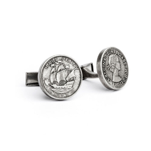 English Laundry Half Penney Uk cufflink