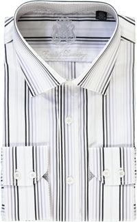 English Laundry White with Black and Gray Stripes Dress Shirt
