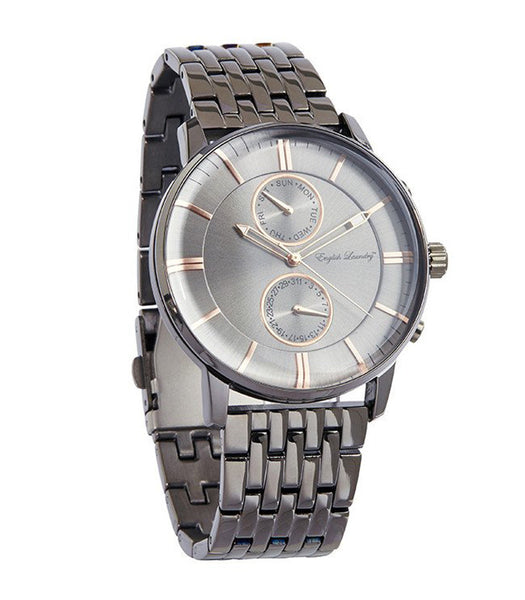 Round Silver Face with Gunmetal Chainlink Strap Watch