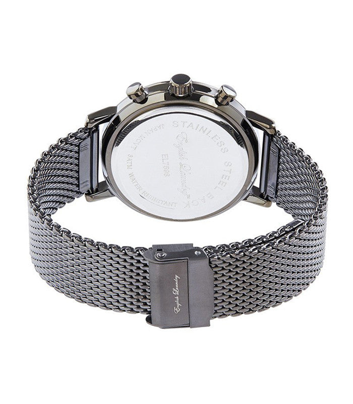 Round Gunmetal Face with Gunmetal Mesh Strap Watch