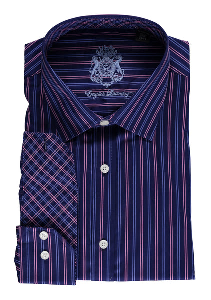 English Laundry Dark Navy Blue Striped Dress Shirt