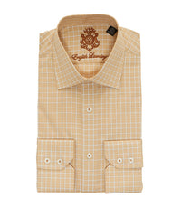 TAN CHECKERED BUTTON DOWN DRESS SHIRT