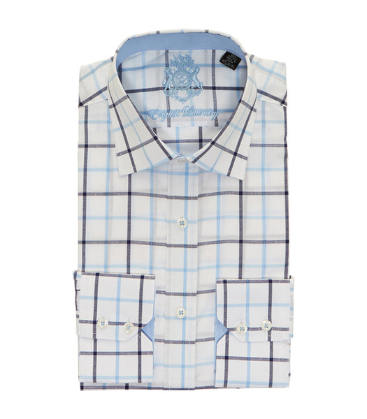 PLAID BUTTON DOWN DRESS SHIRT
