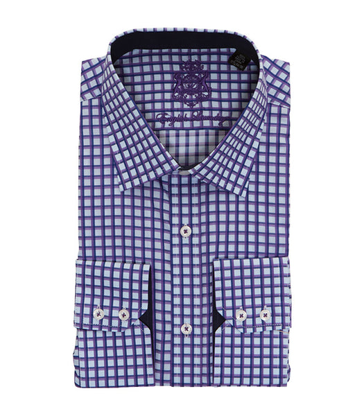 PURPLE CHECKERED BUTTON DOWN DRESS SHIRT
