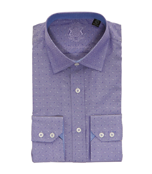 PURPLE DOT BUTTON DOWN DRESS SHIRT