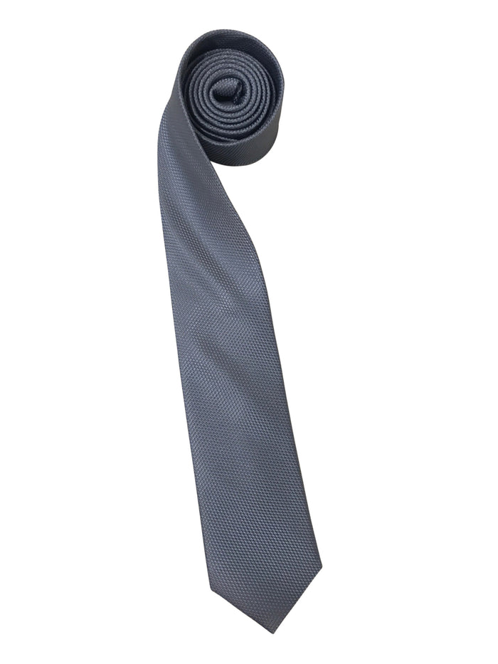 Grey Textured Tie with Embroidered Logo