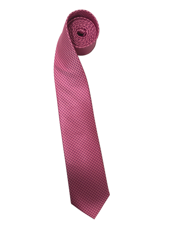 Classic Pink Tie with Blue and White Dots