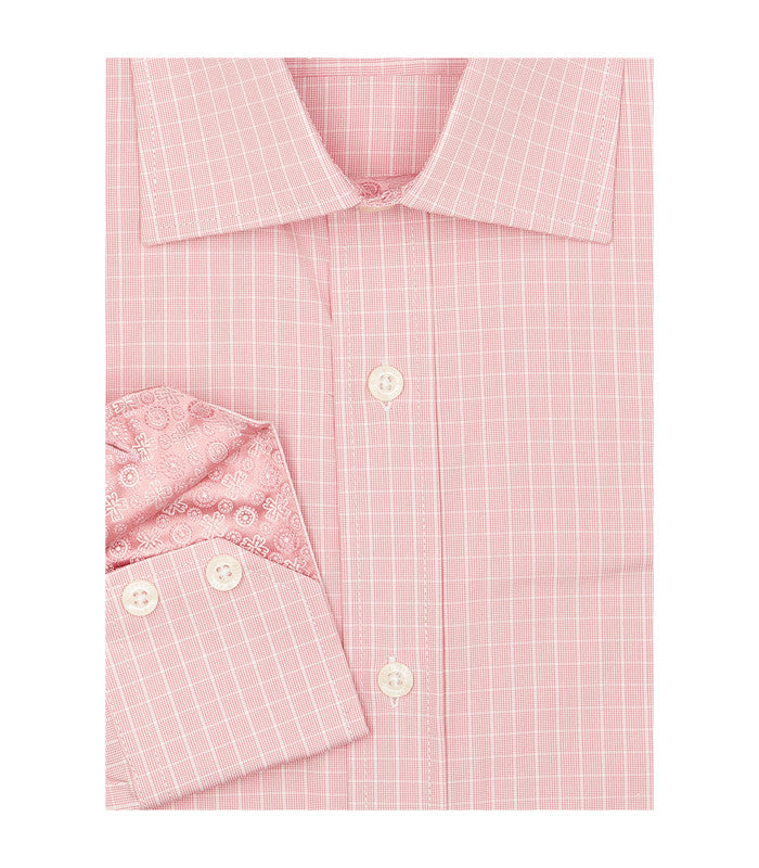 PINK CHECKERED BUTTON DOWN DRESS SHIRT