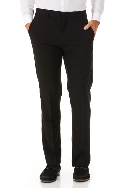 Men's Black 4 Way Stretch Dress/Casual Flat Front Pants- Great Fit