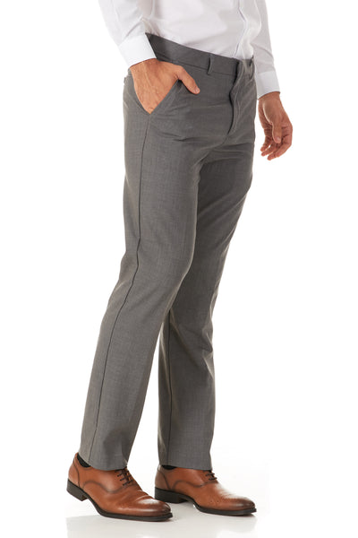Men's Oxford Grey 4 Way Stretch Dress/Casual Flat Front Pants- Great Fit