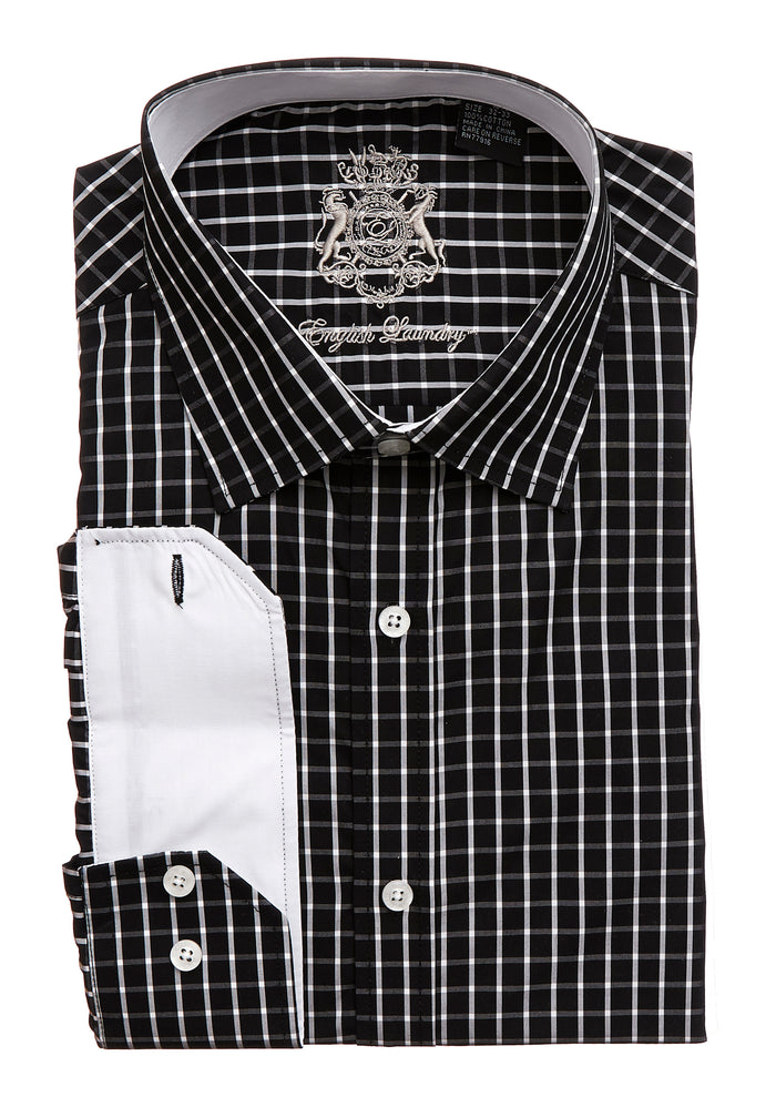 English Laundry Men's Black with White Stripe Dress Shirt