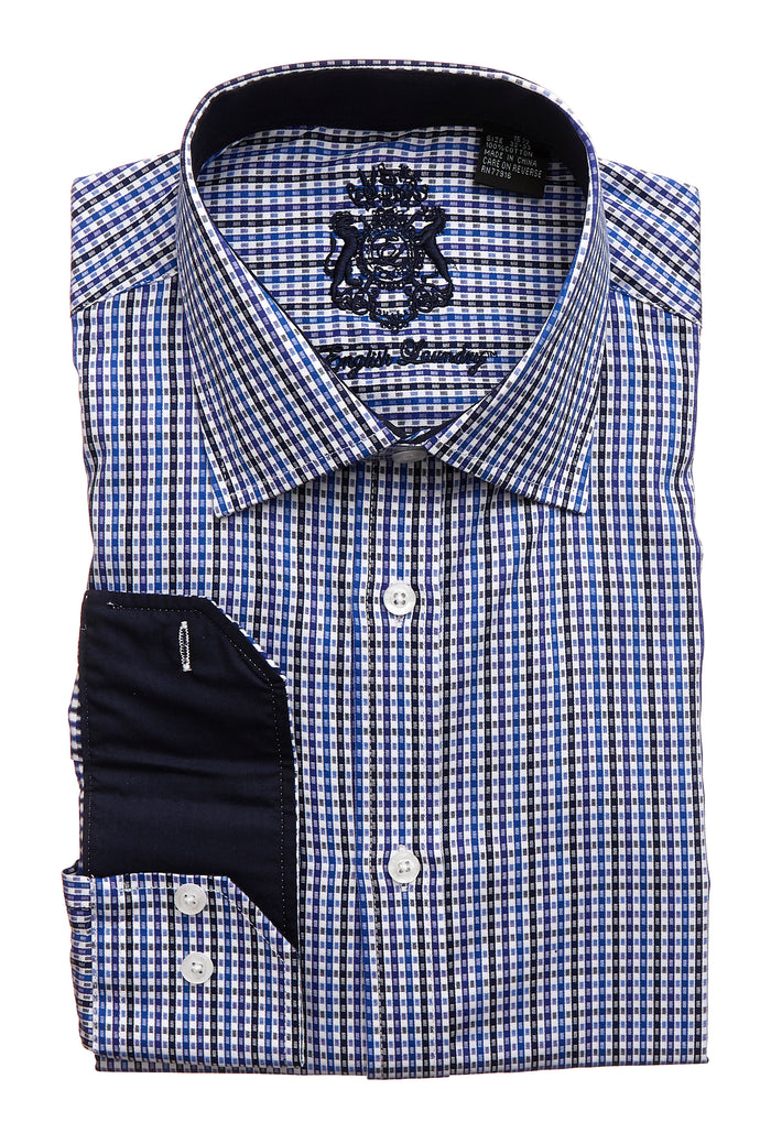 English Laundry Men's Blue and Black Striped Dress Shirt