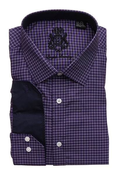 English Laundry Men's Dark Purple with White Mini Check Dress Shirt