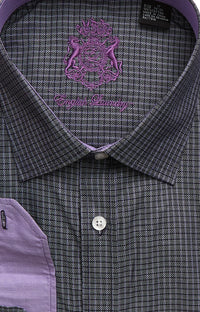 English Laundry Men's Charcoal Checked Dress Shirt