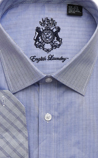 English Laundry Men's Blue Herringbone Dress Shirt