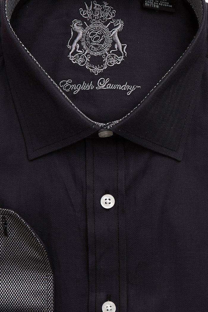 English Laundry Men's Black Herringbone Dress Shirt
