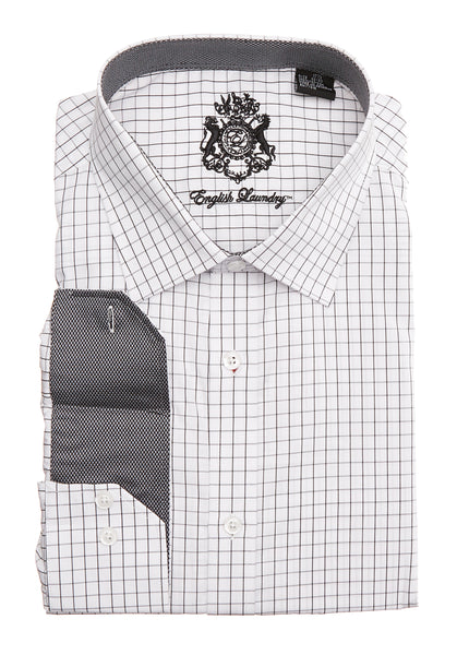 English Laundry White and Black Men's Checked Dress Shirt