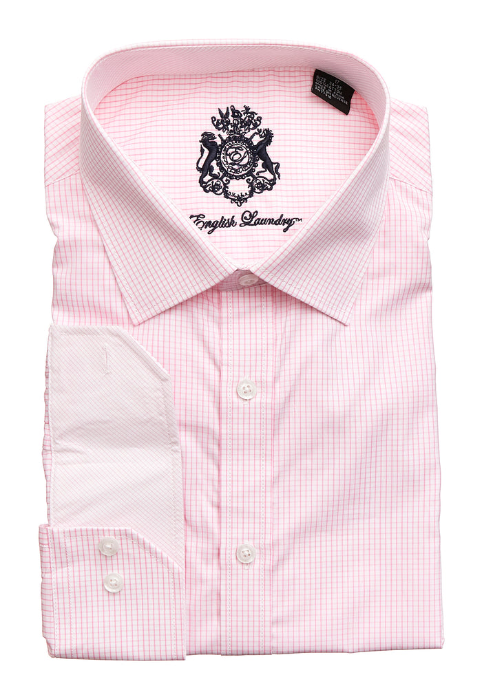 English Laundry Men's Light Pink Mini Check Dress Shirt