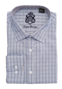 English Laundry Blue Plaid Men's Dress Shirt